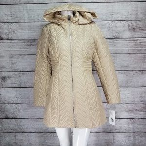 NWT Via Spiga M Zig-Zag Quilted Jacket Hooded